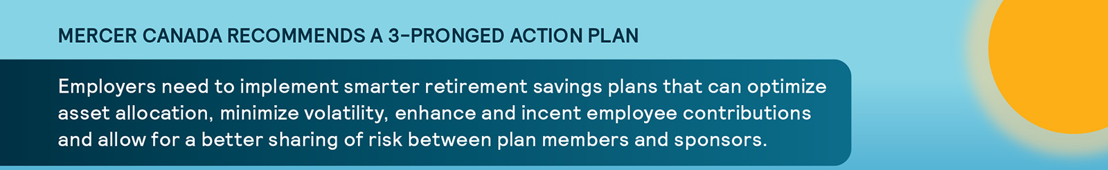 Mercer Canada Recommends a 3-Pronged Action Plan. Employers need to implement smarter retirement savings plans that can optimize asset allocation, minimize volatility, enhance and incent employee contributions and allow for a better sharing of risk between plan members and sponsors.